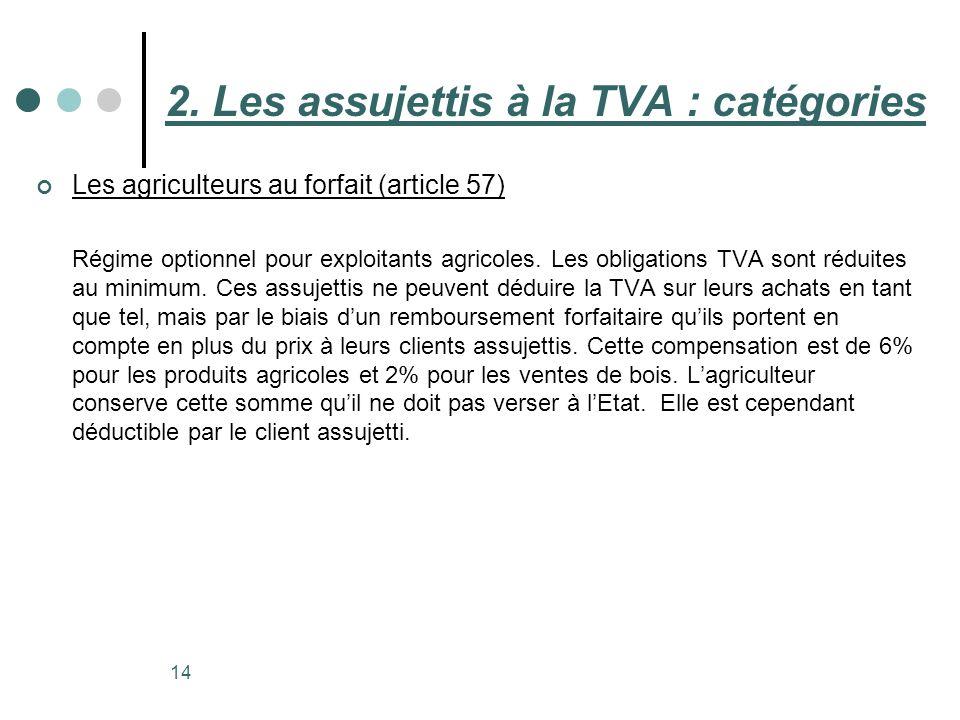 14 Les agriculteurs au forfait (article 57) Régime optionnel pour exploitants agricoles. Les obligations TVA sont réduites au minimum. Ces assujettis