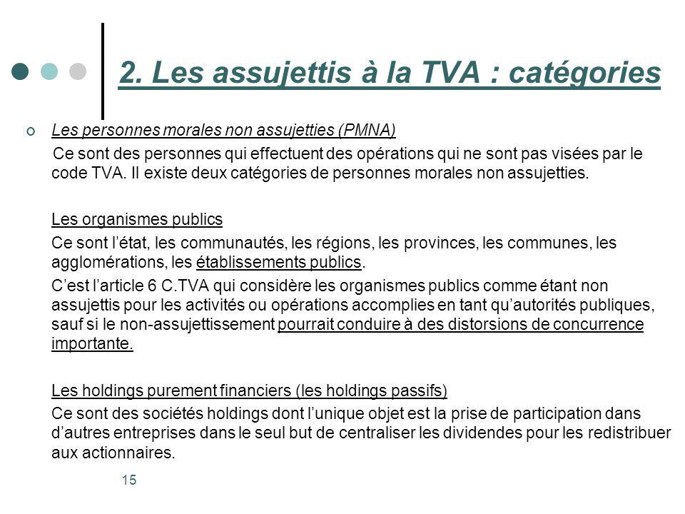 15 Les personnes morales non assujetties (PMNA) Ce sont des personnes qui effectuent des opérations qui ne sont pas visées par le code TVA. Il existe