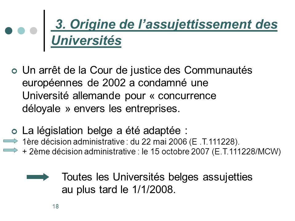18 3. Origine de lassujettissement des Universités Un arrêt de la Cour de justice des Communautés européennes de 2002 a condamné une Université allema
