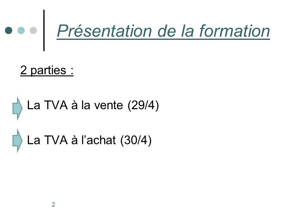 2 Présentation de la formation 2 parties : La TVA à la vente (29/4) La TVA à lachat (30/4)