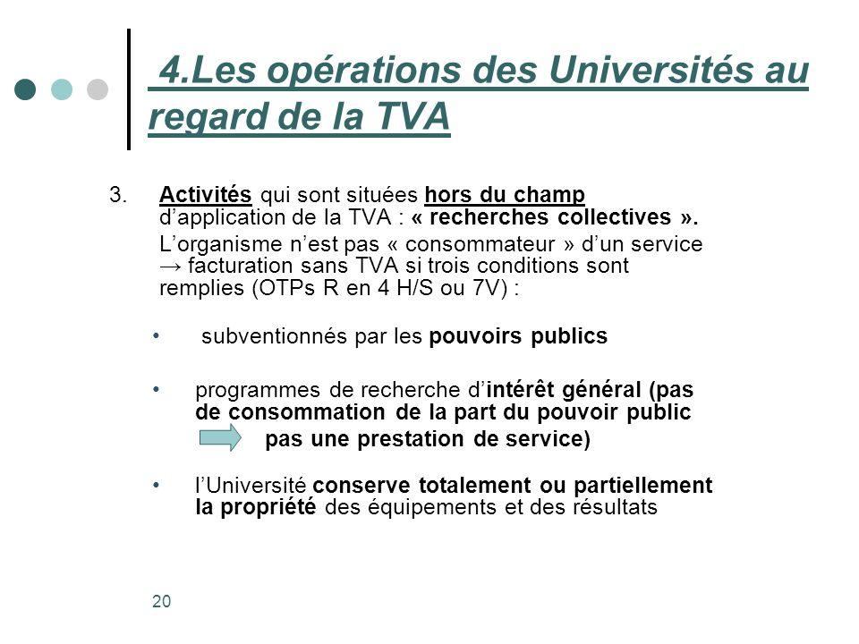 20 3. Activités qui sont situées hors du champ dapplication de la TVA : « recherches collectives ». Lorganisme nest pas « consommateur » dun service f