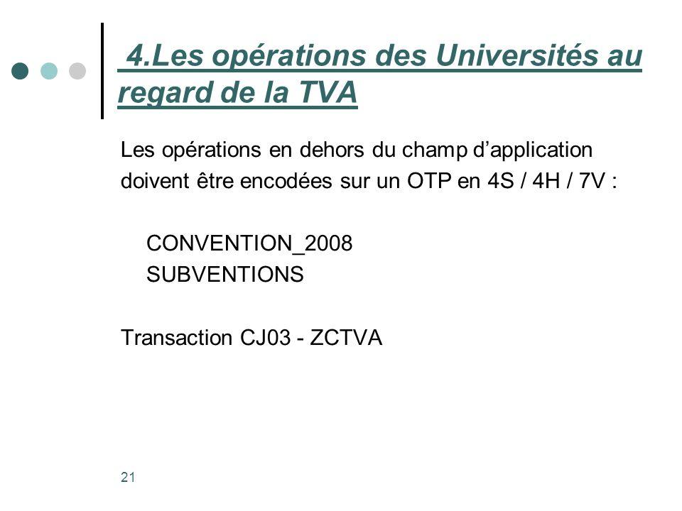 21 Les opérations en dehors du champ dapplication doivent être encodées sur un OTP en 4S / 4H / 7V : CONVENTION_2008 SUBVENTIONS Transaction CJ03 - ZC
