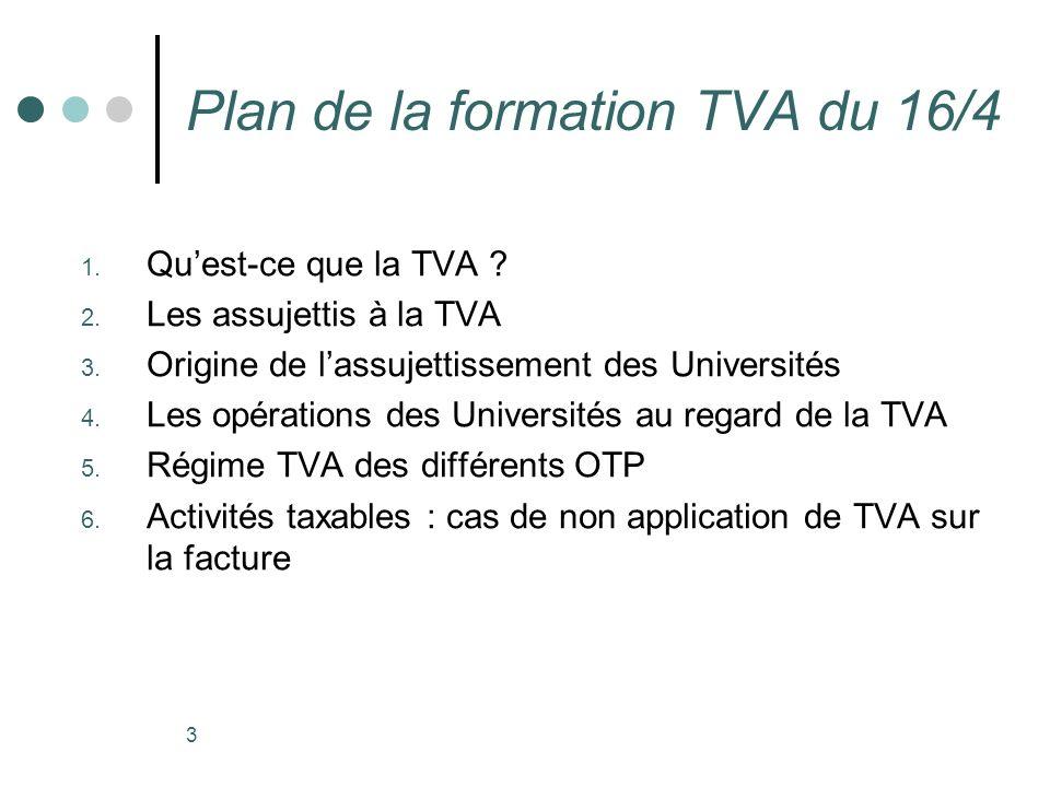 3 Plan de la formation TVA du 16/4 1. Quest-ce que la TVA ? 2. Les assujettis à la TVA 3. Origine de lassujettissement des Universités 4. Les opératio