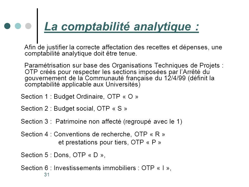 31 La comptabilité analytique : Afin de justifier la correcte affectation des recettes et dépenses, une comptabilité analytique doit être tenue. Param
