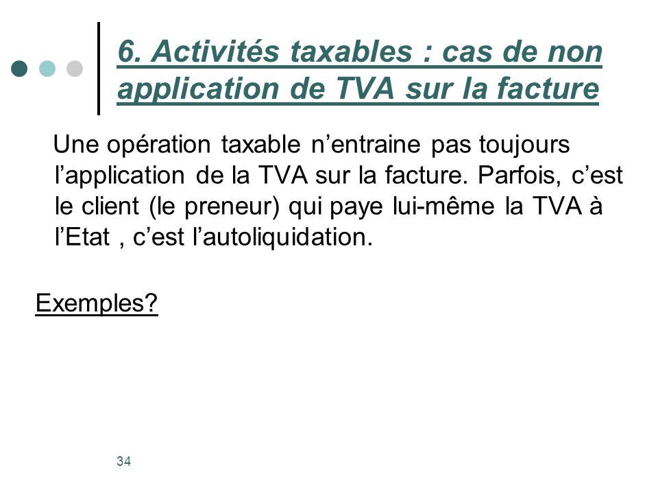 6. Activités taxables : cas de non application de TVA sur la facture Une opération taxable nentraine pas toujours lapplication de la TVA sur la factur