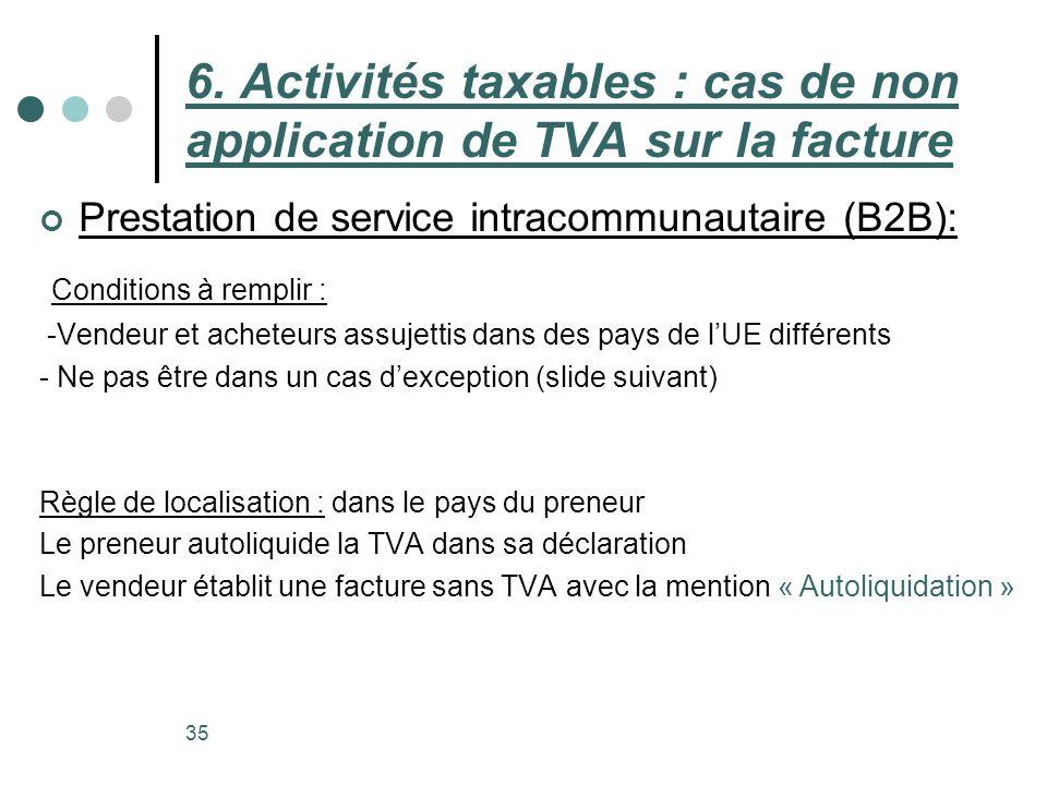 Prestation de service intracommunautaire (B2B): 35 6. Activités taxables : cas de non application de TVA sur la facture Conditions à remplir : -Vendeu