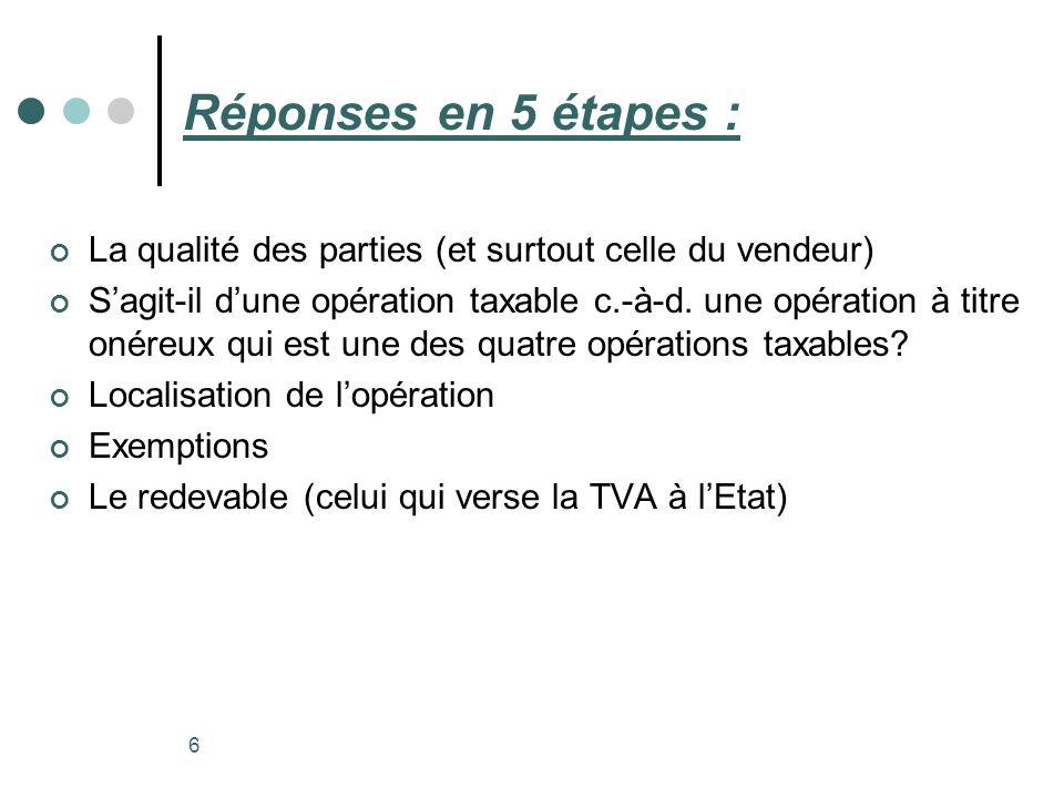 Réponses en 5 étapes : La qualité des parties (et surtout celle du vendeur) Sagit-il dune opération taxable c.-à-d. une opération à titre onéreux qui