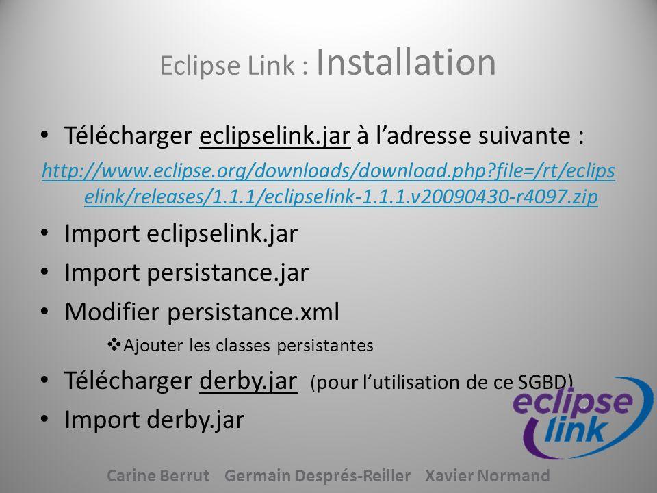 Eclipse Link : Installation Télécharger eclipselink.jar à ladresse suivante : http://www.eclipse.org/downloads/download.php?file=/rt/eclips elink/rele
