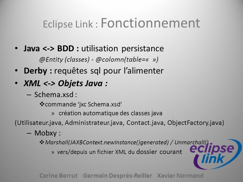 Eclipse Link : Fonctionnement Java BDD : utilisation persistance @Entity (classes) - @colomn(table=« ») Derby : requêtes sql pour lalimenter XML Objet