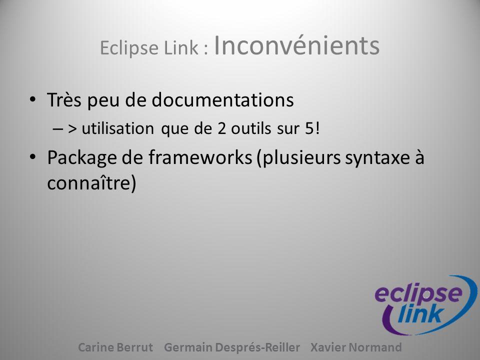 Eclipse Link : Inconvénients Très peu de documentations – > utilisation que de 2 outils sur 5! Package de frameworks (plusieurs syntaxe à connaître) C