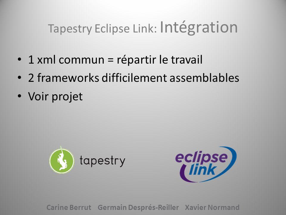 Tapestry Eclipse Link: Intégration 1 xml commun = répartir le travail 2 frameworks difficilement assemblables Voir projet Carine Berrut Germain Despré