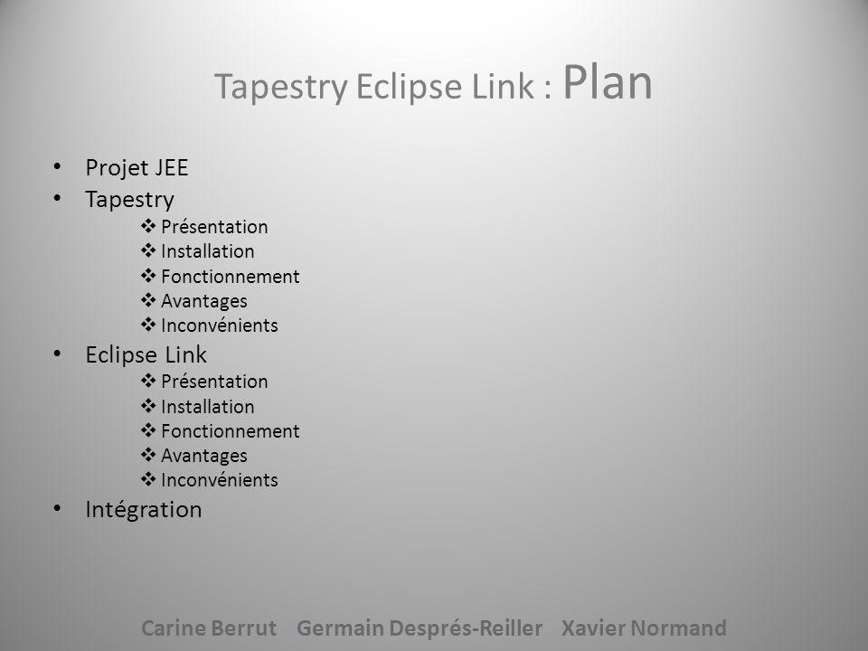 Tapestry Eclipse Link : Plan Projet JEE Tapestry Présentation Installation Fonctionnement Avantages Inconvénients Eclipse Link Présentation Installati