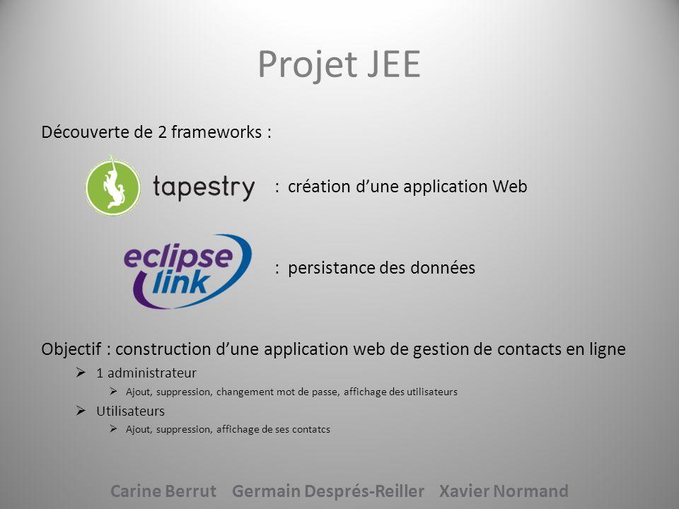 Tapestry Eclipse Link: Intégration 1 xml commun = répartir le travail 2 frameworks difficilement assemblables Voir projet Carine Berrut Germain Després-Reiller Xavier Normand