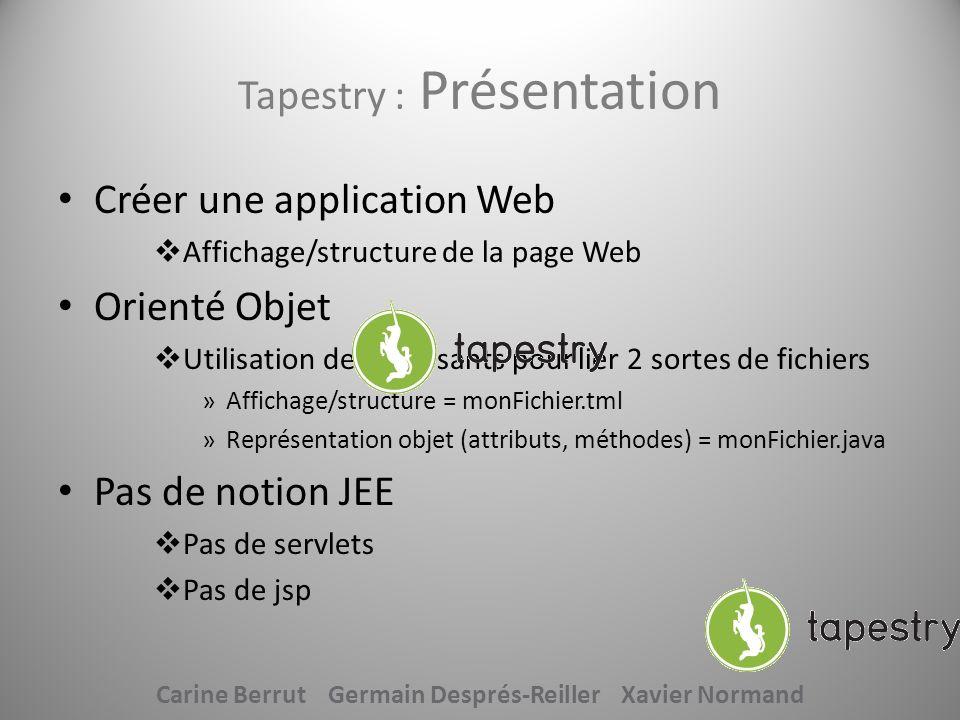 Tapestry : Présentation Créer une application Web Affichage/structure de la page Web Orienté Objet Utilisation de comosants pour lier 2 sortes de fich