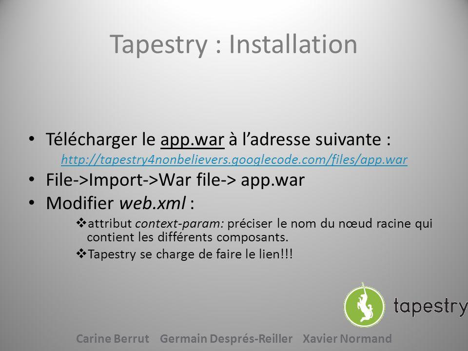 Tapestry : Fonctionnement 2 types de composants Page, composée de : » un fichier template (monFichier.tml) » un fichier java (monFichier.java) Composants : » un fichier template (monFichier.tml) » un fichier java (monFichier.java) qui composent une page Composant layout : encadrer toutes vos pages par un contenu commun Carine Berrut Germain Després-Reiller Xavier Normand