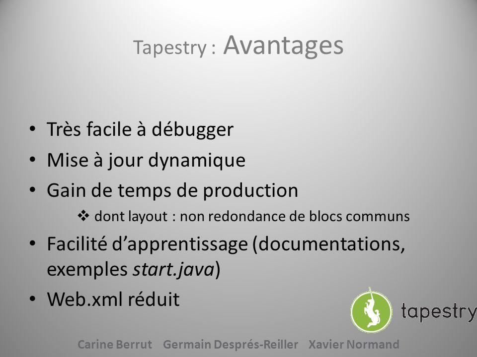 Tapestry : Avantages Très facile à débugger Mise à jour dynamique Gain de temps de production dont layout : non redondance de blocs communs Facilité d