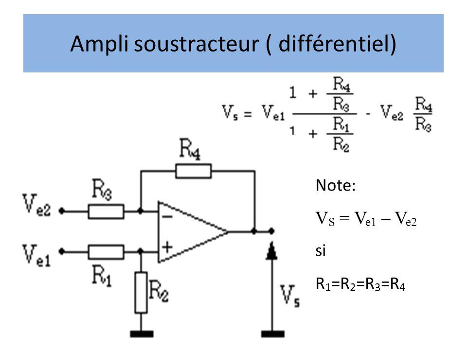 Ampli soustracteur ( différentiel) Note: V S = V e1 – V e2 si R 1 =R 2 =R 3 =R 4