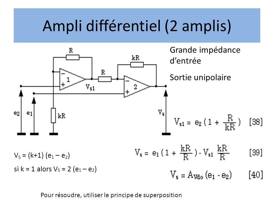 Ampli différentiel (2 amplis) Pour résoudre, utiliser le principe de superposition V S = (k+1) (e 1 – e 2 ) si k = 1 alors V S = 2 (e 1 – e 2 ) Grande impédance dentrée Sortie unipolaire