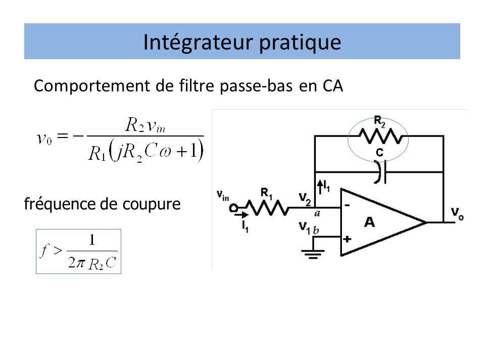 Intégrateur pratique fréquence de coupure Comportement de filtre passe-bas en CA
