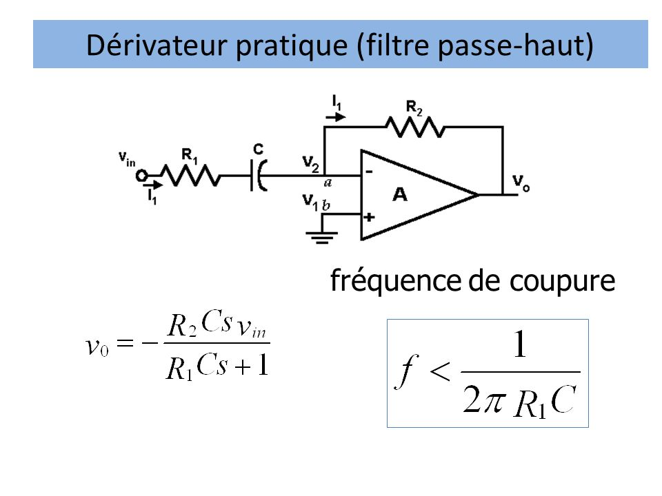 Dérivateur pratique (filtre passe-haut) fréquence de coupure