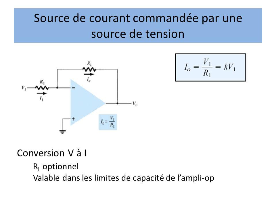 Source de courant commandée par une source de tension Conversion V à I R L optionnel Valable dans les limites de capacité de lampli-op