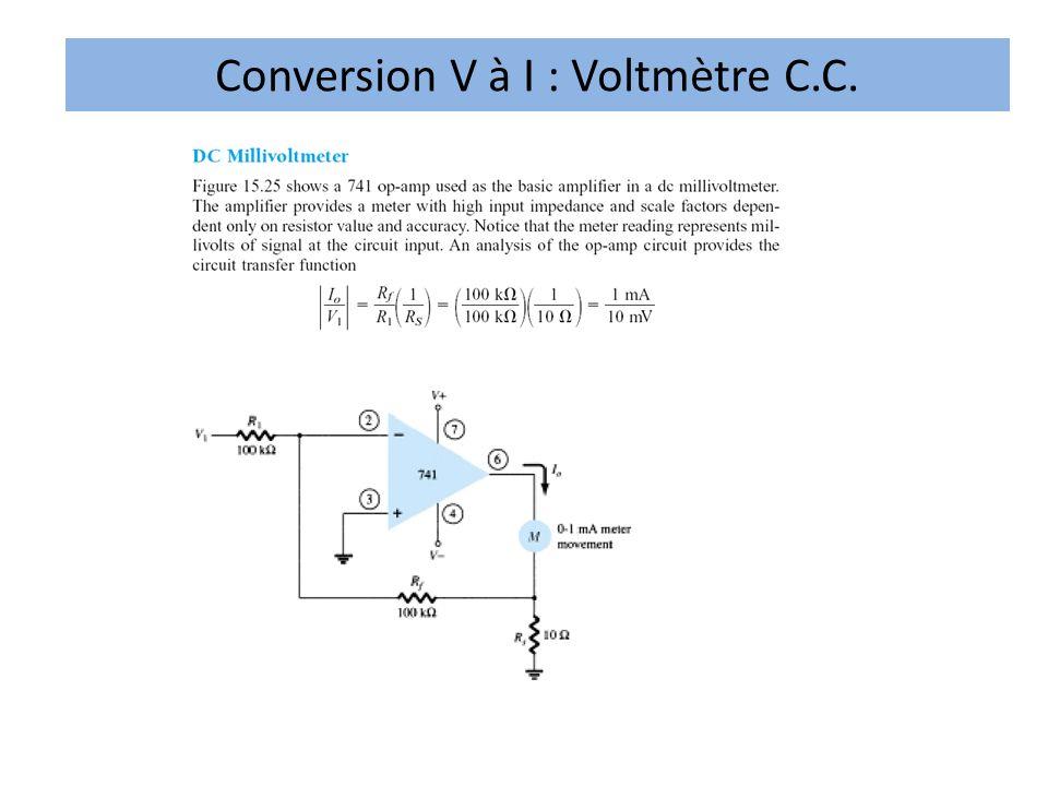 Conversion V à I : Voltmètre C.C.