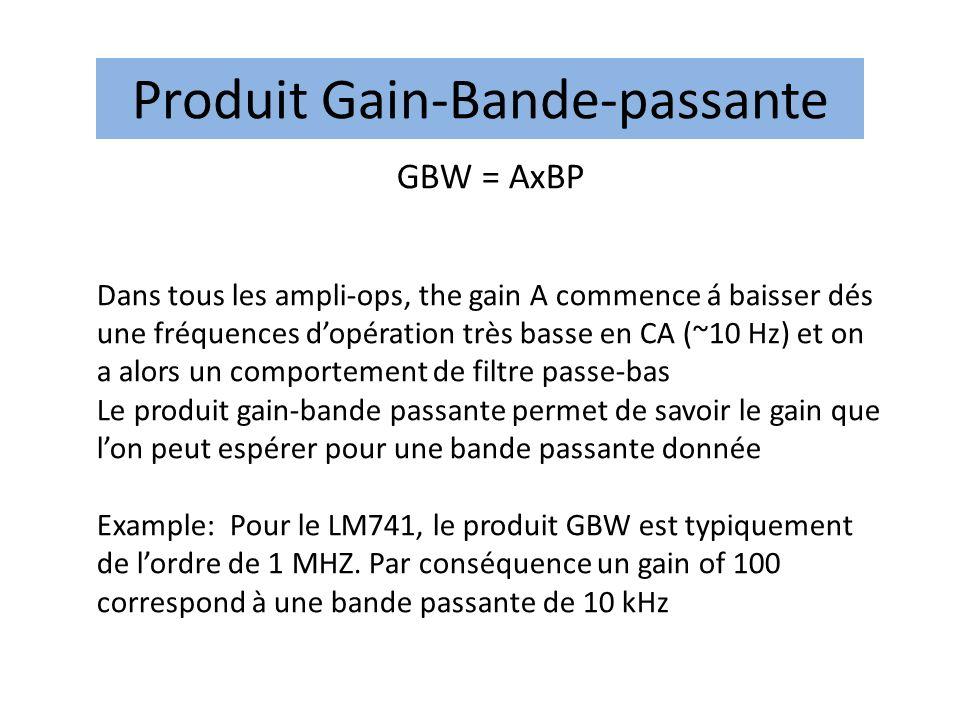 Produit Gain-Bande-passante GBW = AxBP Dans tous les ampli-ops, the gain A commence á baisser dés une fréquences dopération très basse en CA (~10 Hz) et on a alors un comportement de filtre passe-bas Le produit gain-bande passante permet de savoir le gain que lon peut espérer pour une bande passante donnée Example: Pour le LM741, le produit GBW est typiquement de lordre de 1 MHZ.
