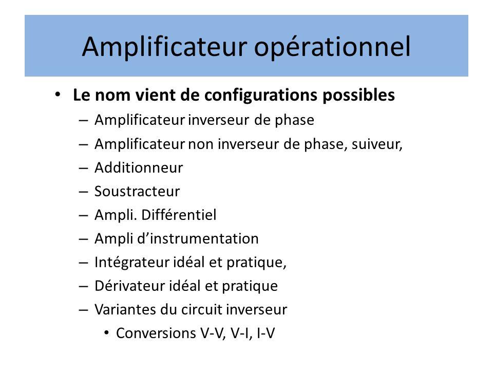 Le nom vient de configurations possibles – Amplificateur inverseur de phase – Amplificateur non inverseur de phase, suiveur, – Additionneur – Soustracteur – Ampli.