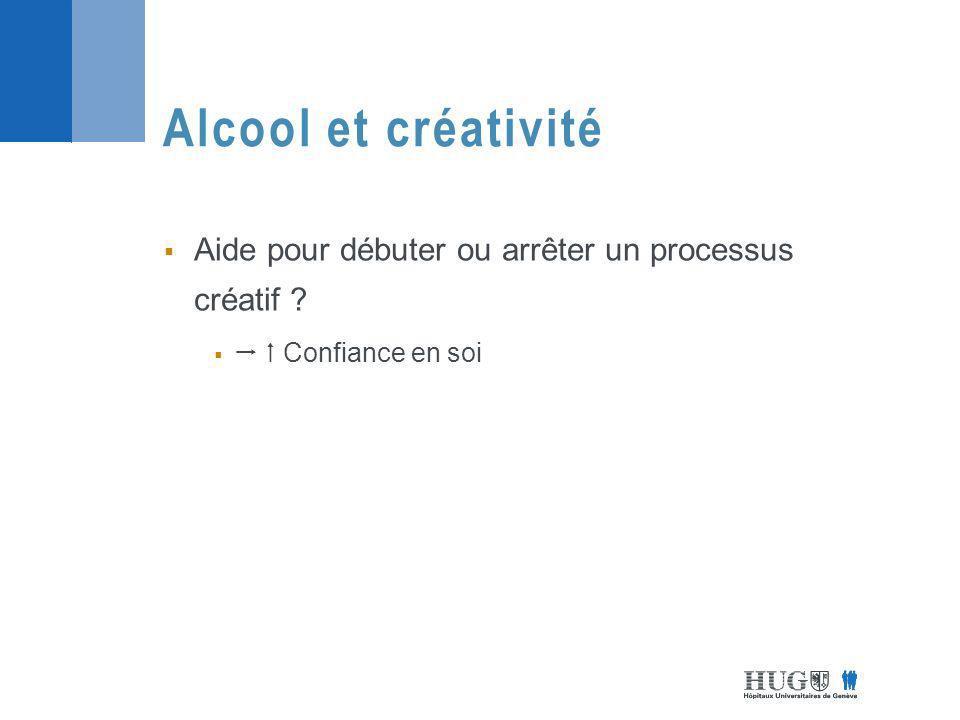 Aide pour débuter ou arrêter un processus créatif ? Confiance en soi Alcool et créativité