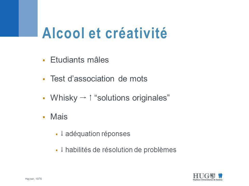 Etudiants mâles Test dassociation de mots Whisky solutions originales Mais adéquation réponses habilités de résolution de problèmes Alcool et créativité Hajcak, 1976