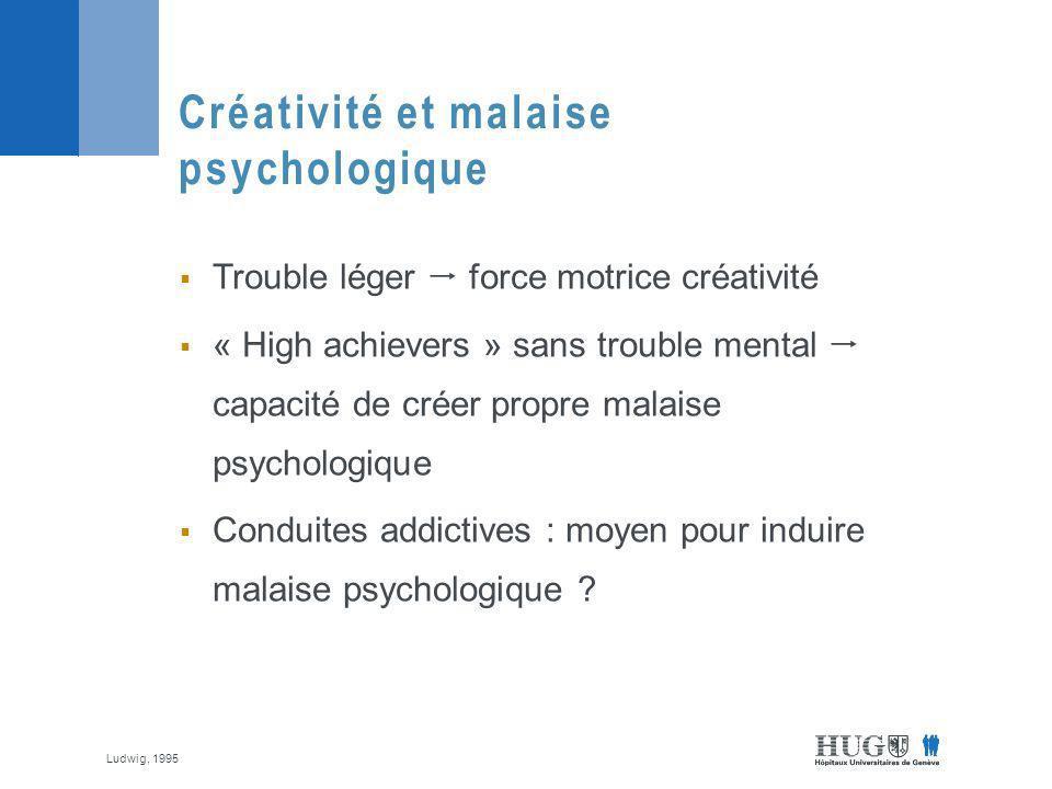 Trouble léger force motrice créativité « High achievers » sans trouble mental capacité de créer propre malaise psychologique Conduites addictives : moyen pour induire malaise psychologique .