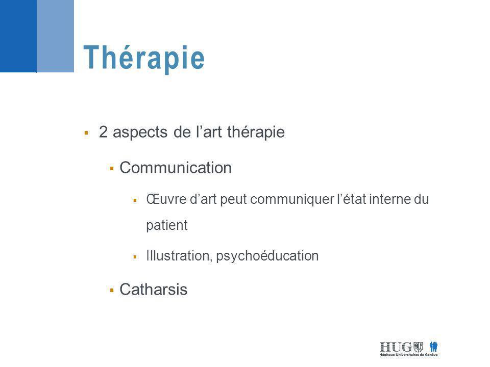 2 aspects de lart thérapie Communication Œuvre dart peut communiquer létat interne du patient Illustration, psychoéducation Catharsis Thérapie
