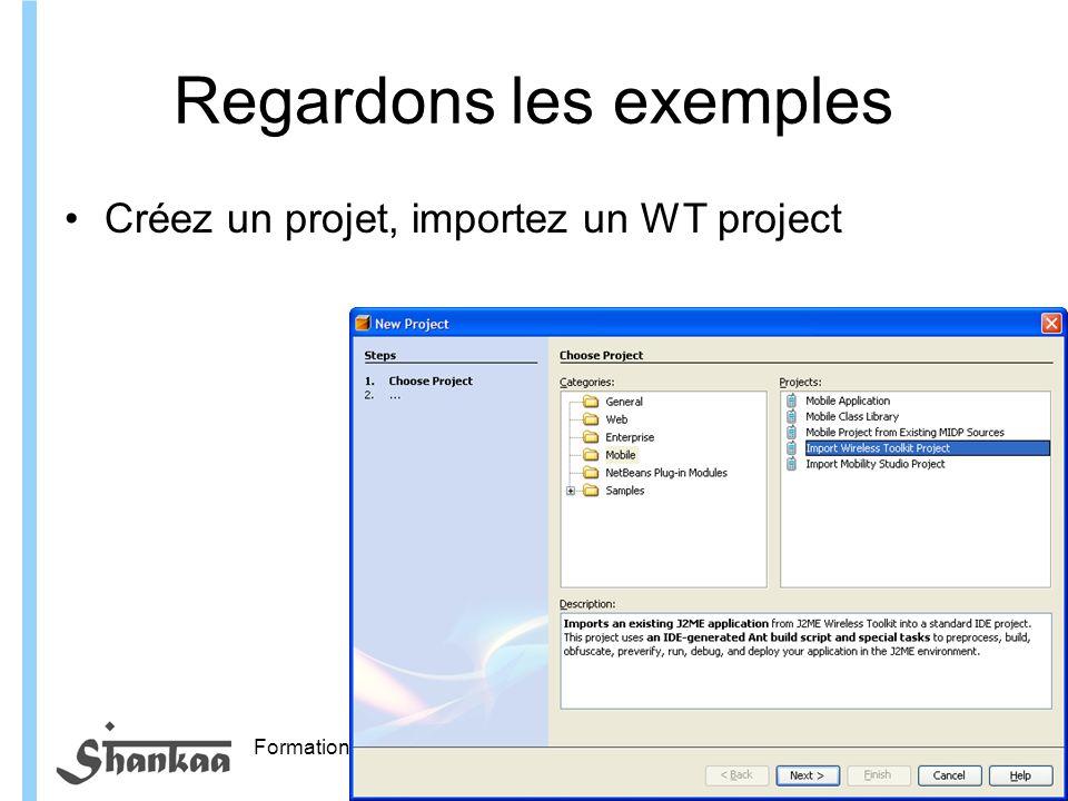 Formation ITIN Regardons les exemples Créez un projet, importez un WT project