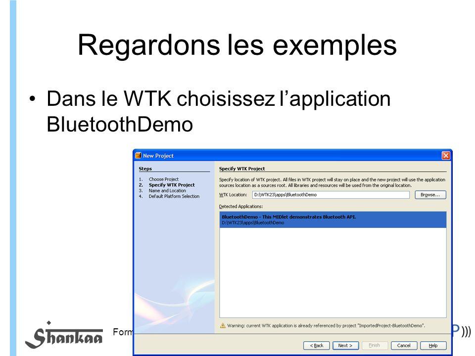 Formation ITIN Regardons les exemples Dans le WTK choisissez lapplication BluetoothDemo