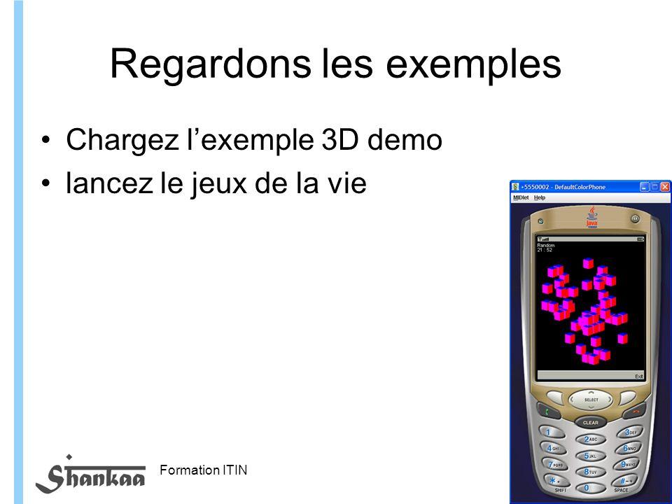 Formation ITIN Regardons les exemples Chargez lexemple 3D demo lancez le jeux de la vie