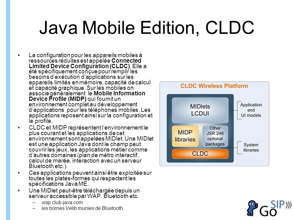 Formation ITIN Java Mobile Edition, CLDC La configuration pour les appareils mobiles à ressources réduites est appelée Connected Limited Device Configuration (CLDC).