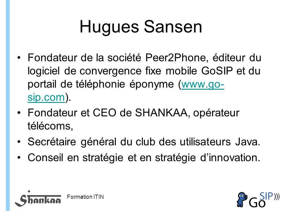Formation ITIN Hugues Sansen Fondateur de la société Peer2Phone, éditeur du logiciel de convergence fixe mobile GoSIP et du portail de téléphonie éponyme (www.go- sip.com).www.go- sip.com Fondateur et CEO de SHANKAA, opérateur télécoms, Secrétaire général du club des utilisateurs Java.