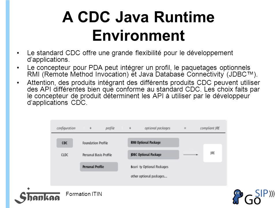 Formation ITIN A CDC Java Runtime Environment Le standard CDC offre une grande flexibilité pour le développement dapplications.