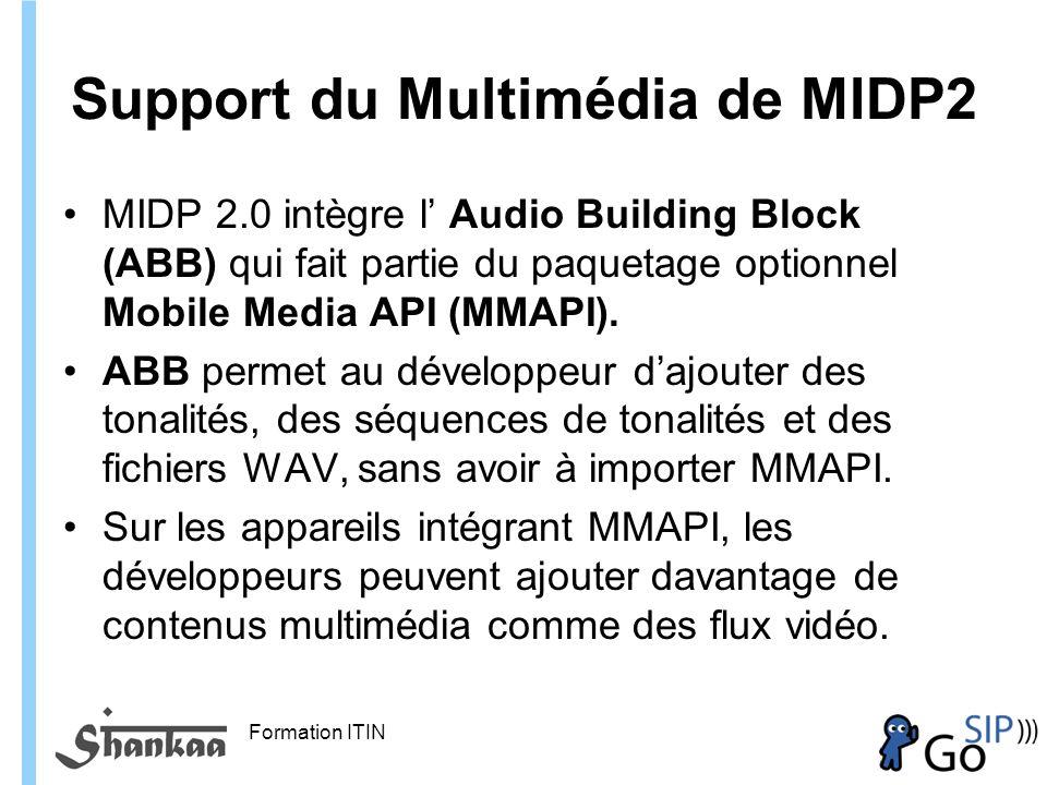Formation ITIN Support du Multimédia de MIDP2 MIDP 2.0 intègre l Audio Building Block (ABB) qui fait partie du paquetage optionnel Mobile Media API (MMAPI).
