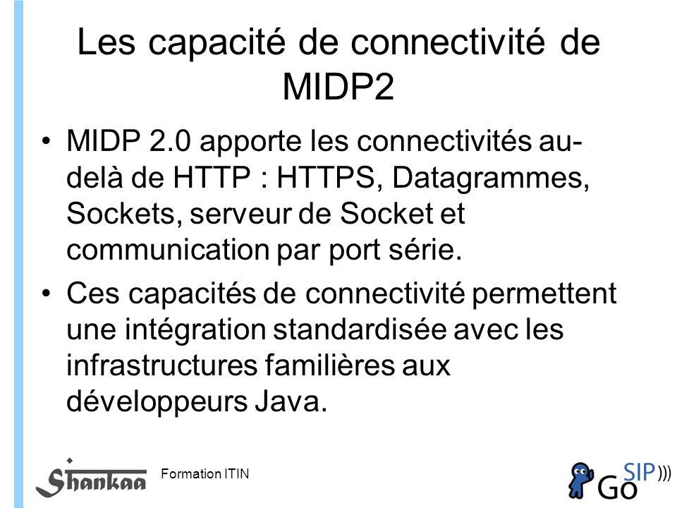 Formation ITIN Les capacité de connectivité de MIDP2 MIDP 2.0 apporte les connectivités au- delà de HTTP : HTTPS, Datagrammes, Sockets, serveur de Socket et communication par port série.