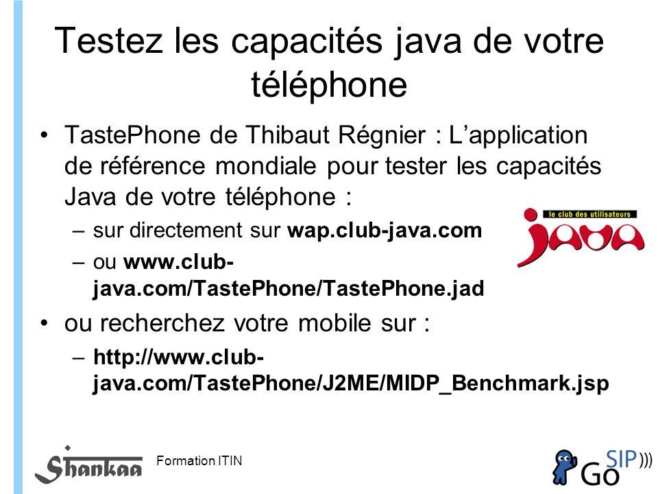 Formation ITIN Testez les capacités java de votre téléphone TastePhone de Thibaut Régnier : Lapplication de référence mondiale pour tester les capacités Java de votre téléphone : –sur directement sur wap.club-java.com –ou www.club- java.com/TastePhone/TastePhone.jad ou recherchez votre mobile sur : –http://www.club- java.com/TastePhone/J2ME/MIDP_Benchmark.jsp