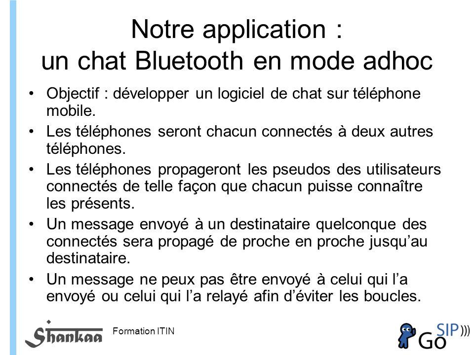 Formation ITIN Notre application : un chat Bluetooth en mode adhoc Objectif : développer un logiciel de chat sur téléphone mobile.