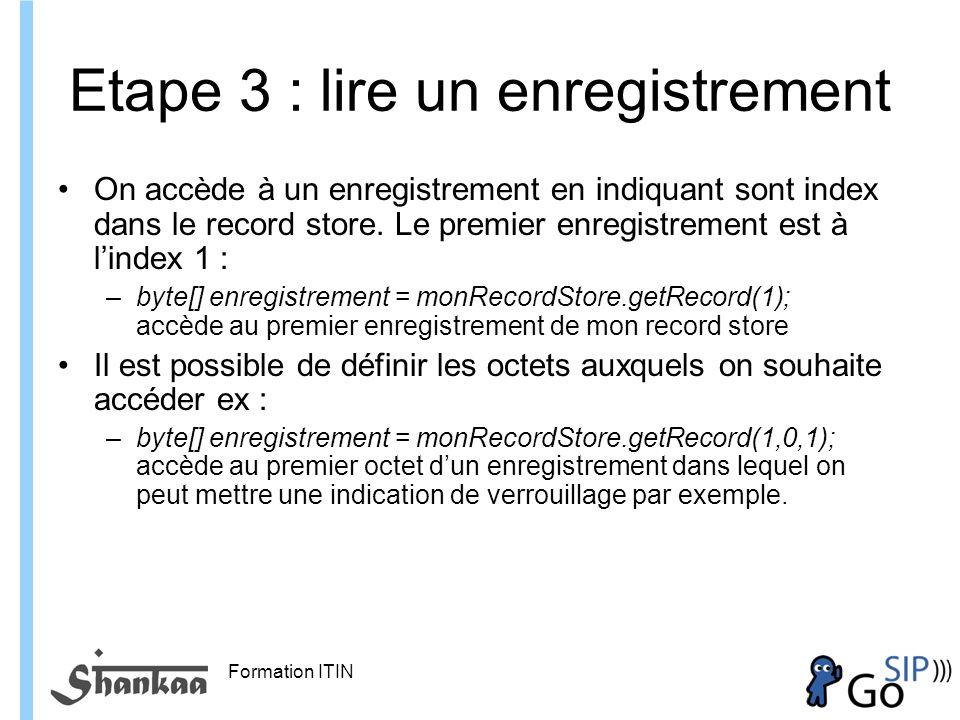 Formation ITIN Etape 3 : lire un enregistrement On accède à un enregistrement en indiquant sont index dans le record store.