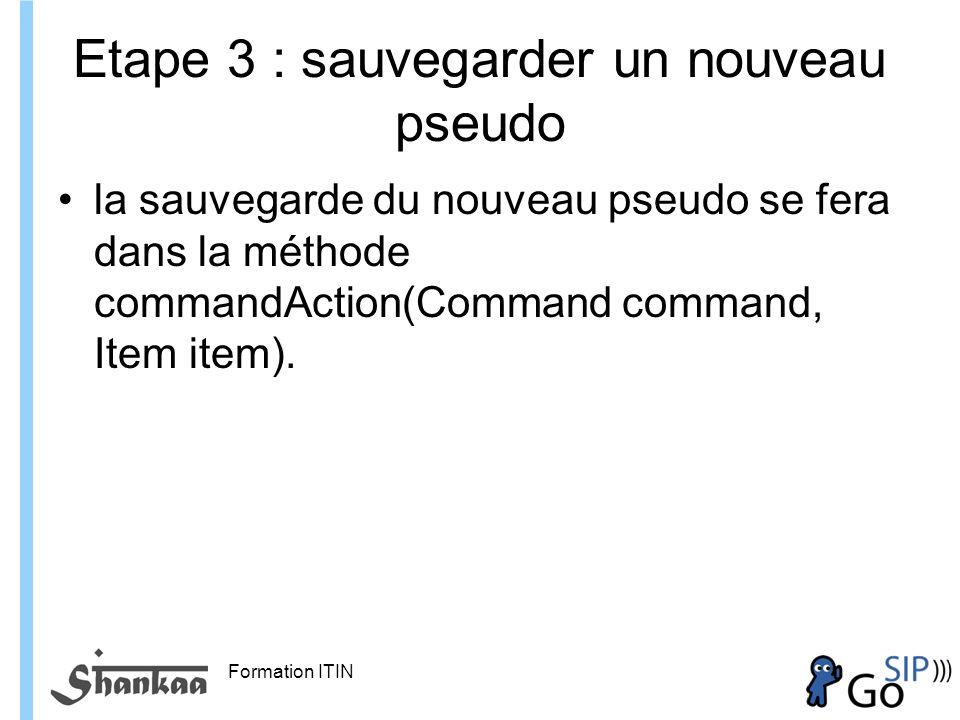 Formation ITIN Etape 3 : sauvegarder un nouveau pseudo la sauvegarde du nouveau pseudo se fera dans la méthode commandAction(Command command, Item item).
