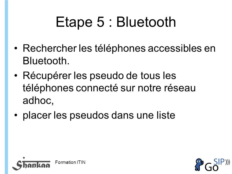 Formation ITIN Etape 5 : Bluetooth Rechercher les téléphones accessibles en Bluetooth.