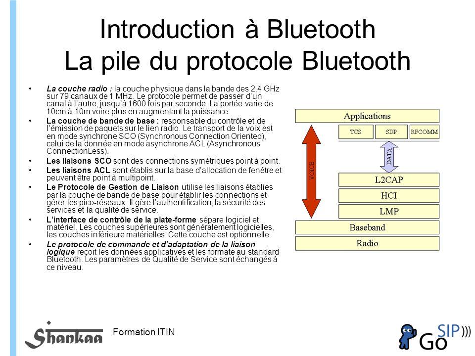 Formation ITIN Introduction à Bluetooth La pile du protocole Bluetooth La couche radio : la couche physique dans la bande des 2.4 GHz sur 79 canaux de 1 MHz.