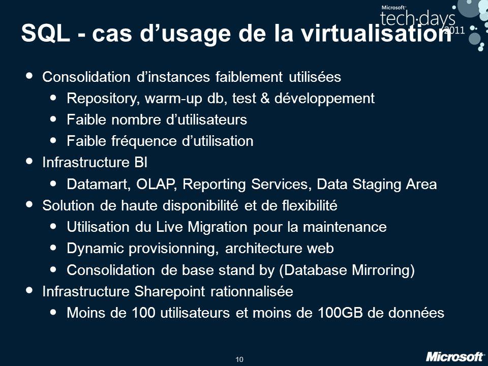10 SQL - cas dusage de la virtualisation Consolidation dinstances faiblement utilisées Repository, warm-up db, test & développement Faible nombre duti