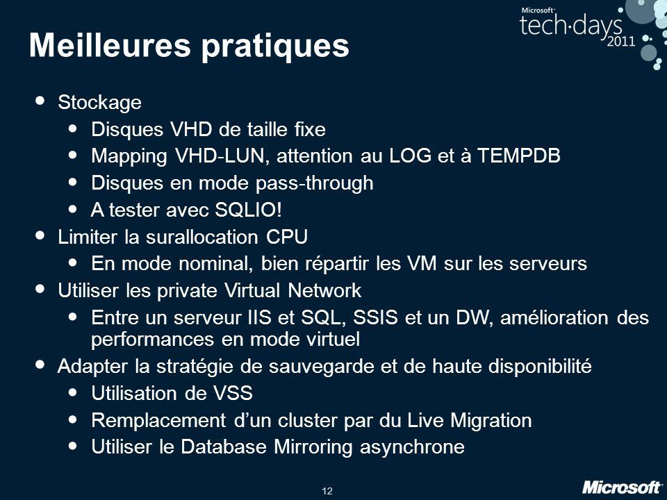 12 Meilleures pratiques Stockage Disques VHD de taille fixe Mapping VHD-LUN, attention au LOG et à TEMPDB Disques en mode pass-through A tester avec S