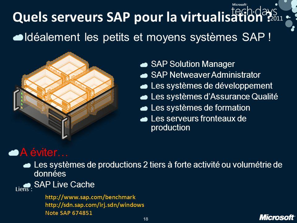 18 Quels serveurs SAP pour la virtualisation ? SAP Solution Manager SAP Netweaver Administrator Les systèmes de développement Les systèmes dAssurance