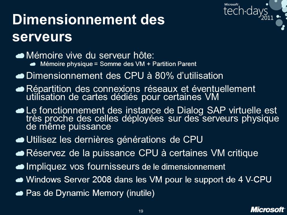 19 Dimensionnement des serveurs Mémoire vive du serveur hôte: Mémoire physique = Somme des VM + Partition Parent Dimensionnement des CPU à 80% dutilis